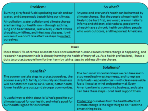 talking points - climate change